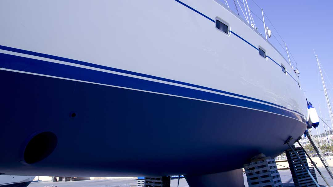 A Yacht onshore for antifouling